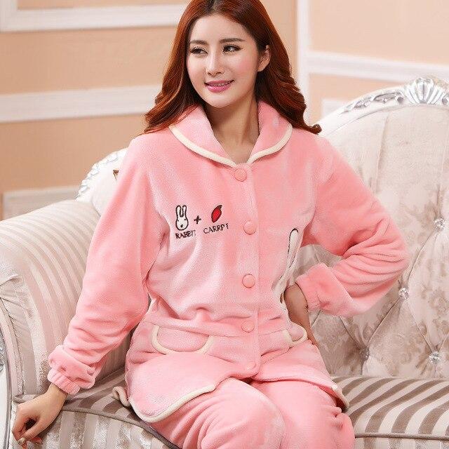 2016 Sale Pyjamas Men Pajamas Pijamas Hombre Invierno New Fashion Cute Cartoon Rabbit Female Winter Radish Thick Long Sleeved