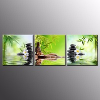 Buddha Canvas Wall Art Spa Zen Stone Canvas Print Painting Orchid Flower Home Painting Wall Decal