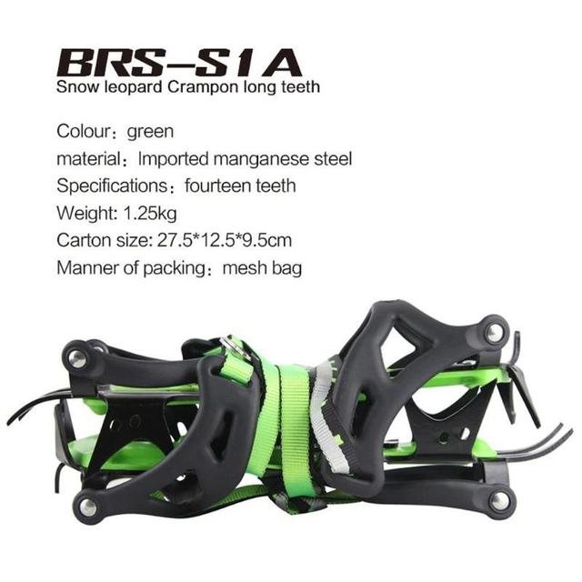 BRS-S1A Fourteen Teeth Bundled Crampons Professional Stainless Steel Ice Gripper Hiking Climbing Equipment travel kits
