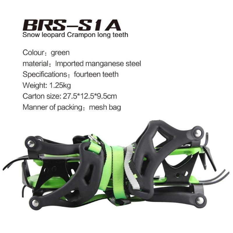 BRS-S1A catorce dientes incluido crampones profesional de acero inoxidable agarre hielo de senderismo escalada equipo kits de viaje - 4