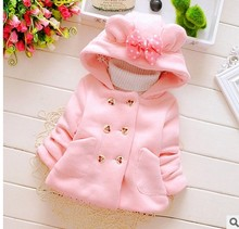 Cute Ear Rabbit Hooded Coat Girls Fall Winter Warm Jacket Tracksuit Children Kids Clothing Baby Girl Tops Coats(China)