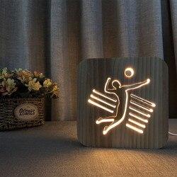 Nordic styl 3D człowiek gry w siatkówkę światło nocne drewniane lampki nocne ozdoby gwiazdkowa noc drewna LED USB lampa stołowa luminaria