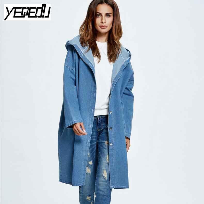 #2410 Mulheres caem casacos com capuz Denim trench coat para as mulheres Da Moda casaco manga comprida denim casacos feminino Cardigan feminino