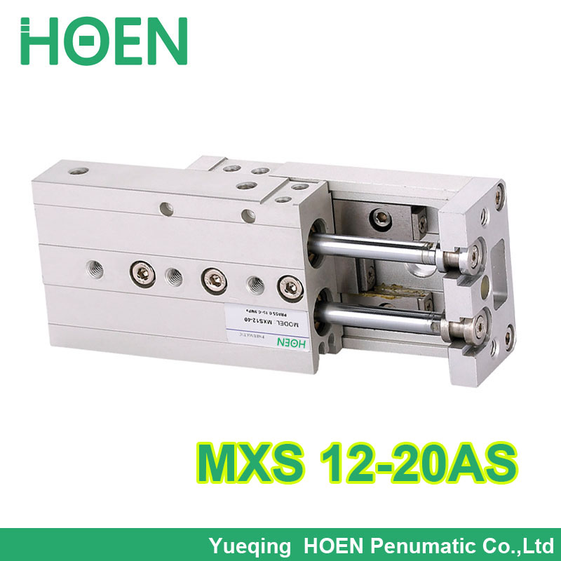 MXS12-20 SMC Type MXS series Cylinder MXS12-20AS Air Slide Table Double Acting 12mm bore 20mm stroke Accept custom mhy2 10d smc type 180 degree angular style air gripper double acting cam style 10mm bore