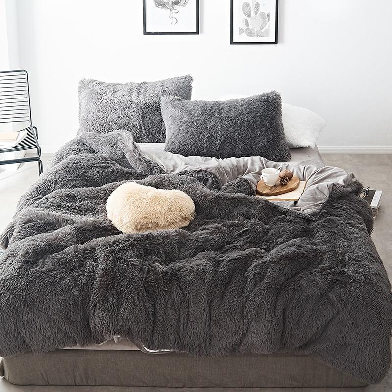Gray Red Purple Pink Blue White Winter Thick Fleece Fabric Bedding Set Mink Velvet Duvet Cover Bed sheet Bed Linen Pillowcases