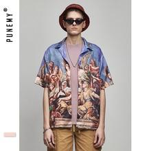 Angle Character Funny Full Printed Mens Tee Shirts Loose Turn-down Collar T-shirt Causal High Street Hip Hop Male Shirt