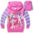 Varejo Novos 2016 Meninas Outono Casacos Crianças Little Pony Hoodies Casaco Casacos Roupas Roupas Infantil em estoque