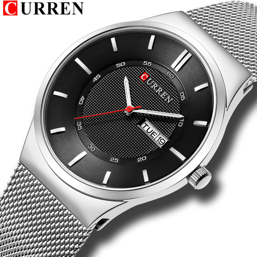 Men Watches Simple Style Stainless Steel Mesh Wristwatch CURREN New Quartz Male Clock With Week And Date Reloj Waterproof Hombre
