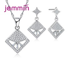 Jemmin High Quality Luxury Clear Crystal Pendant Necklace Earrings Set Fine 925 Sterling Silver Bridal Wedding Jewelry Set Gift