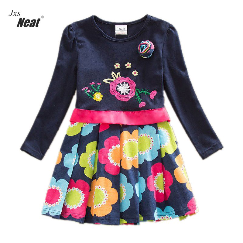 NEAT Girls Long Sleeve Dress 2017 Spring and Autumn models children sweet cute cotton embroidery flowers children's dress LH5868 flounce sleeve eyelet embroidery dress