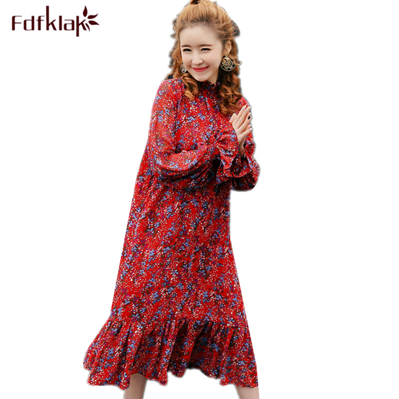 Fdfklak Pregnancy Dress Women Long Sleeve Chiffon Pregnant Dress Vintage Print Maternity Dresses Large Size Maternity Clothes