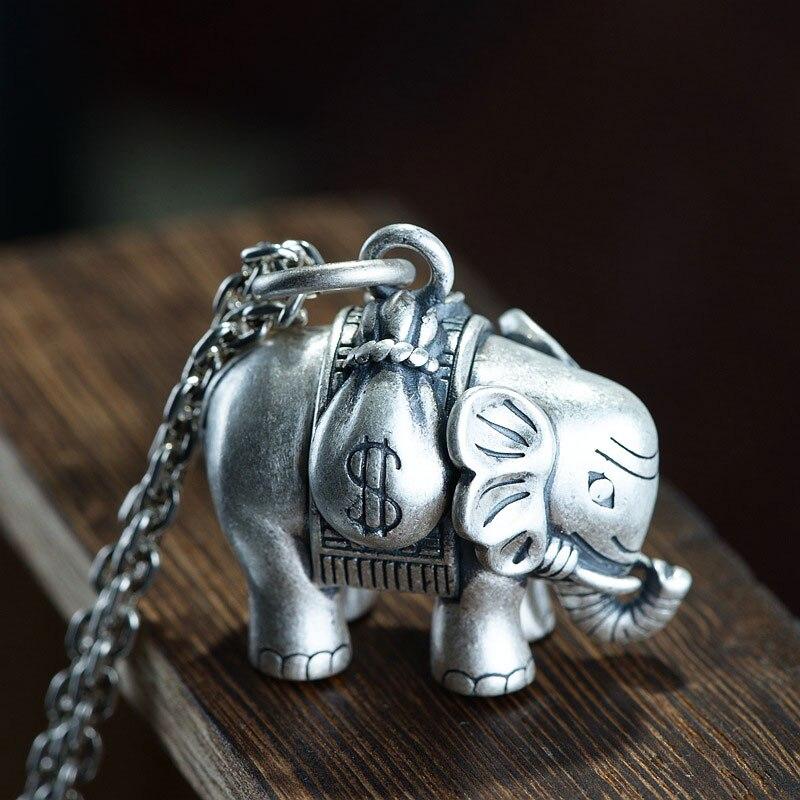 FNJ 925 pendentif éléphant en argent Punk Animal pendentif Original pur S925 Thai argent pendentifs pour femmes fabrication de bijoux