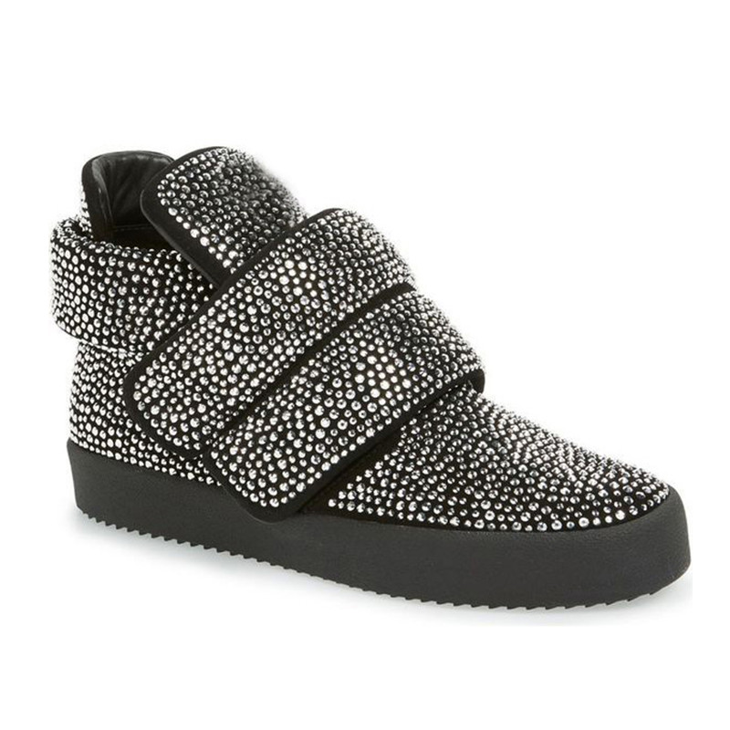 2017 Autumn Winter Shoes Woman Casual High Top Flats Hook & Loop Crystal Design Woman Cozy Flats Plus Size Mujer Flats Tide S