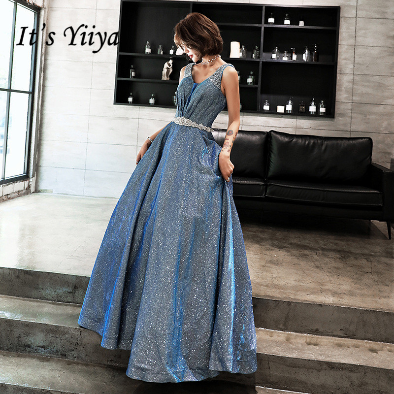 It's YiiYa Evening Dress V-neck Sleeve Blue Train Long Formal Dresses Shining Crystal Lace Up Tank Party Gown   E072