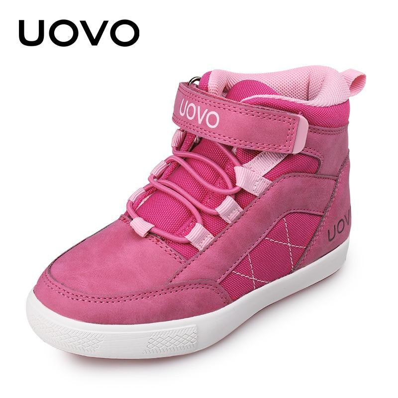 UOVO Brand Girls Shoes 2019 New Autumn Winter Kids Walking Shoes Fashion Children's Footwear Warm Girls Sneakers Size 28# 37#