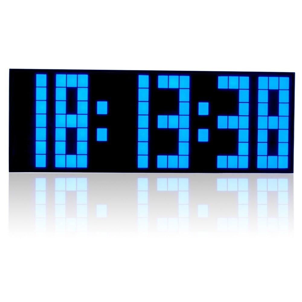 LED Big Digital Alarm Clock Bedroom Gym Office Snooze Desk Clock Full Range Brightness Dimmer Timer Calendar Temperature Display blue led backlit digital clock with calendar temperature alarm 4 aa