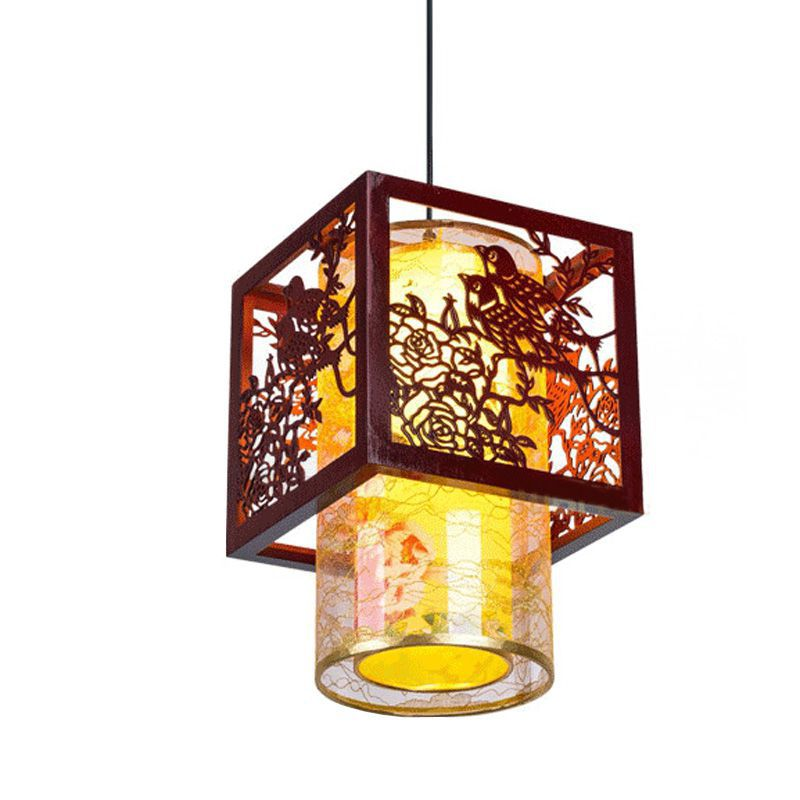 Classic Chinese Style Wooden Pendant Lamp Vintage Dining Room Pendant Light Tea House Hallway Balcony Hanging Lamps chinese style iron lantern pendant lamps living room lamp tea room art dining lamp lanterns pendant lights za6284 zl36 ym