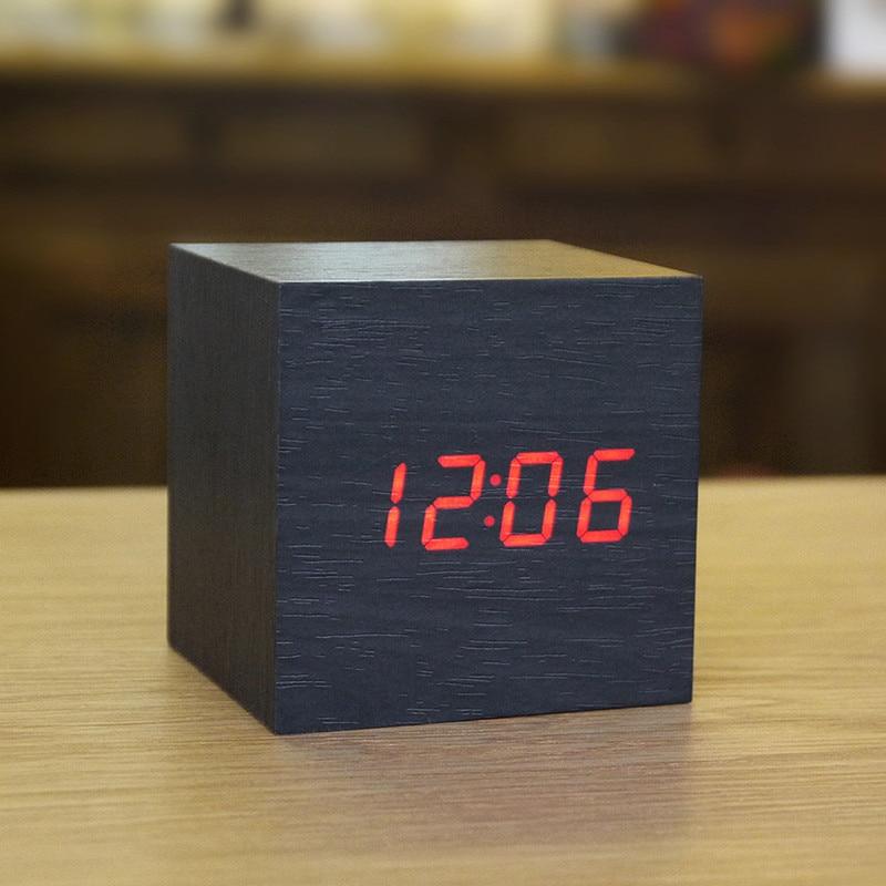 Wooden LED Alarm Clock Despertador Temperature Sounds Control LED Display Electronic Desktop Digital Table Clocks 2D