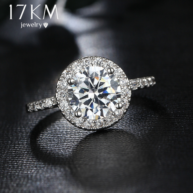 17KM Big Round Cubic Zirconia Rings Fashion Wedding Jewelry Female Engagement Ring For Women Crystal Silver Color Party New Gift