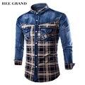HEE GRAND Рубашки Мужчины Горячие Продажа Повседневная Мода Плед Дизайн Лоскутное С Длинным Рукавом Джинсовые Рубашки Плюс Размер MCL1683
