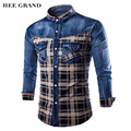 HEE GRAND Shirts Men Hot Sale Casual Fashion Plaid Design Patchwork Long Sleeve Denim Shirts Plus Size MCL1683