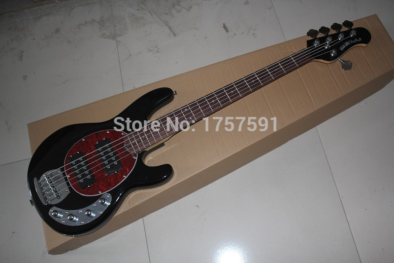 wholesale new music man 5 strigs stingray black electric bass guitar with 9v battery amplifier. Black Bedroom Furniture Sets. Home Design Ideas