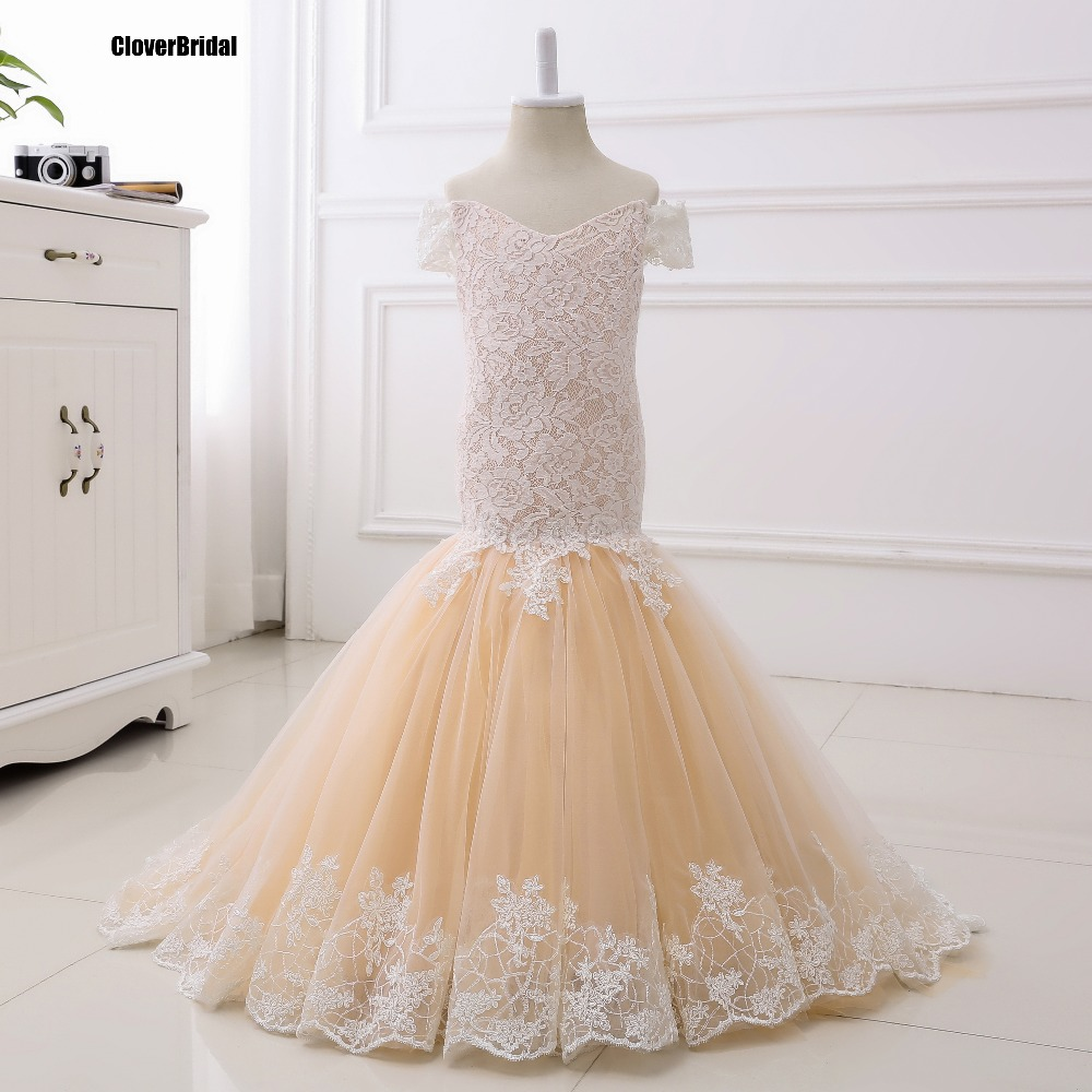 In stock ready-to-ship mermaid lace+tulle champagne   flower     girl     dresses   cheap size 2-14 teenage   dress   for wedding party birthday