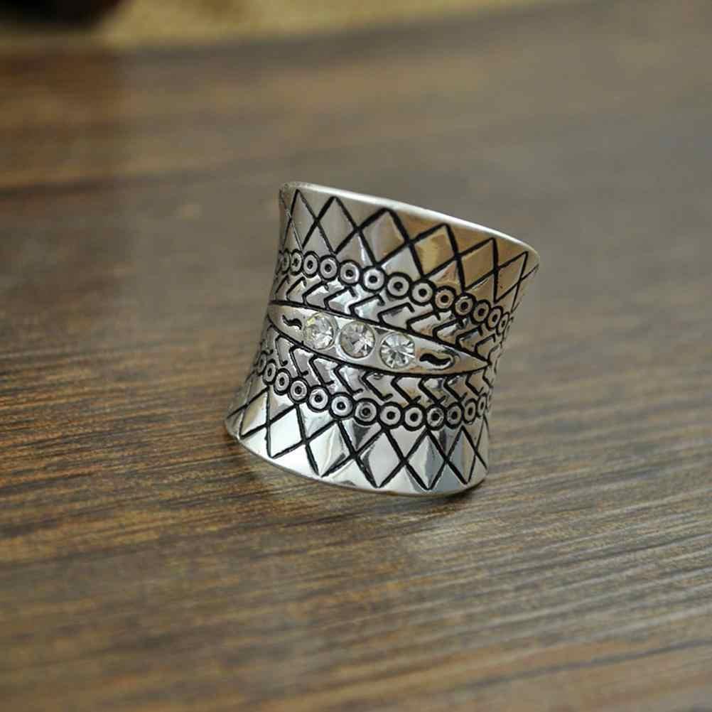Turcos Praia Do Punk do vintage Anel de Zircão Étnica Totem Esculpido Antique Silver Plated Boho Knuckle Ring Finger Charme Anelli