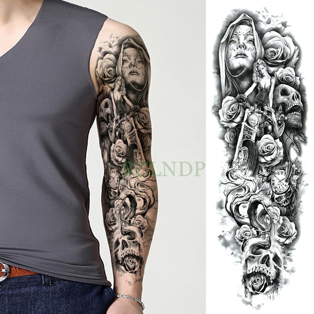 Calavera Tattoo Flash us $1.99 |waterproof temporary tattoo sticker skull motorcycle rose full  arm large size fake tatto flash tatoo sleeve for men women girl|temporary