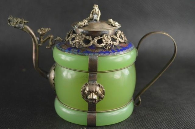 Chinese handwork old green jade inlay tibet-silver dragon teapot monkey Garden Decoration 100% real Tibetan Silver Brass