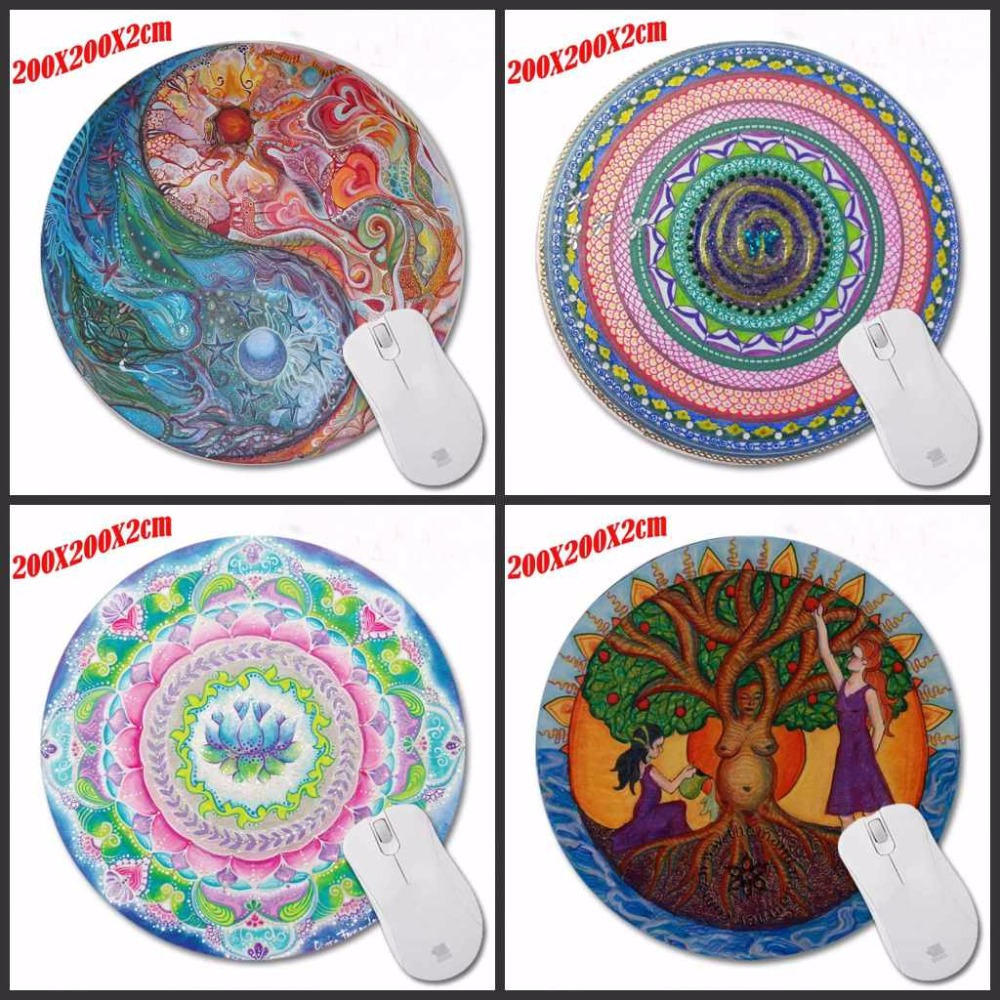 New High Quality Colorful Flowers Pattern Durable Gaming Optical Computer Mouse Mat Mice Pads Soft Silicone Round Mouse Pad