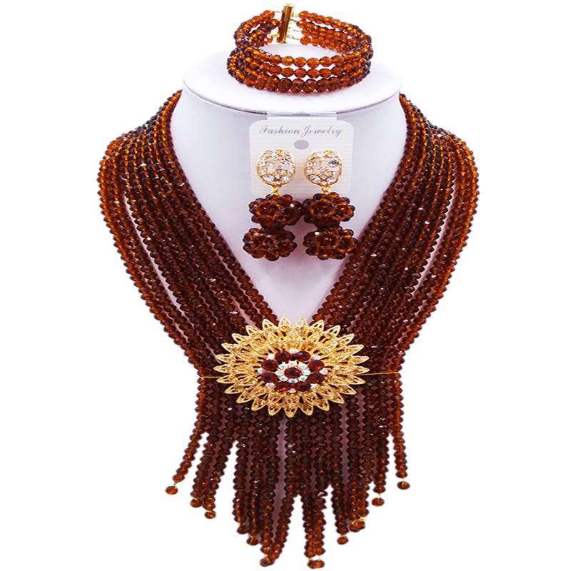 купить Pretty Brown African Style Classic Women Crystal Beads Necklace Jewelry Sets 8C-SK-03 по цене 3397.1 рублей