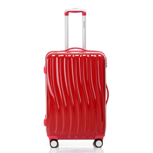 Brands ABS PC suitcase bag men Candy-colored wave pattern travel women universal wheels Trolley case rolling luggage bags 22 26