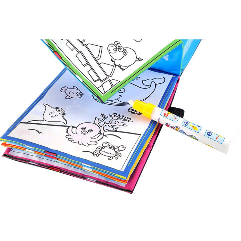 New Magic Kids Water Drawing Book + 1 Magic Pen / Children Intimate Coloring Book Water Animals Painting Board wholesale