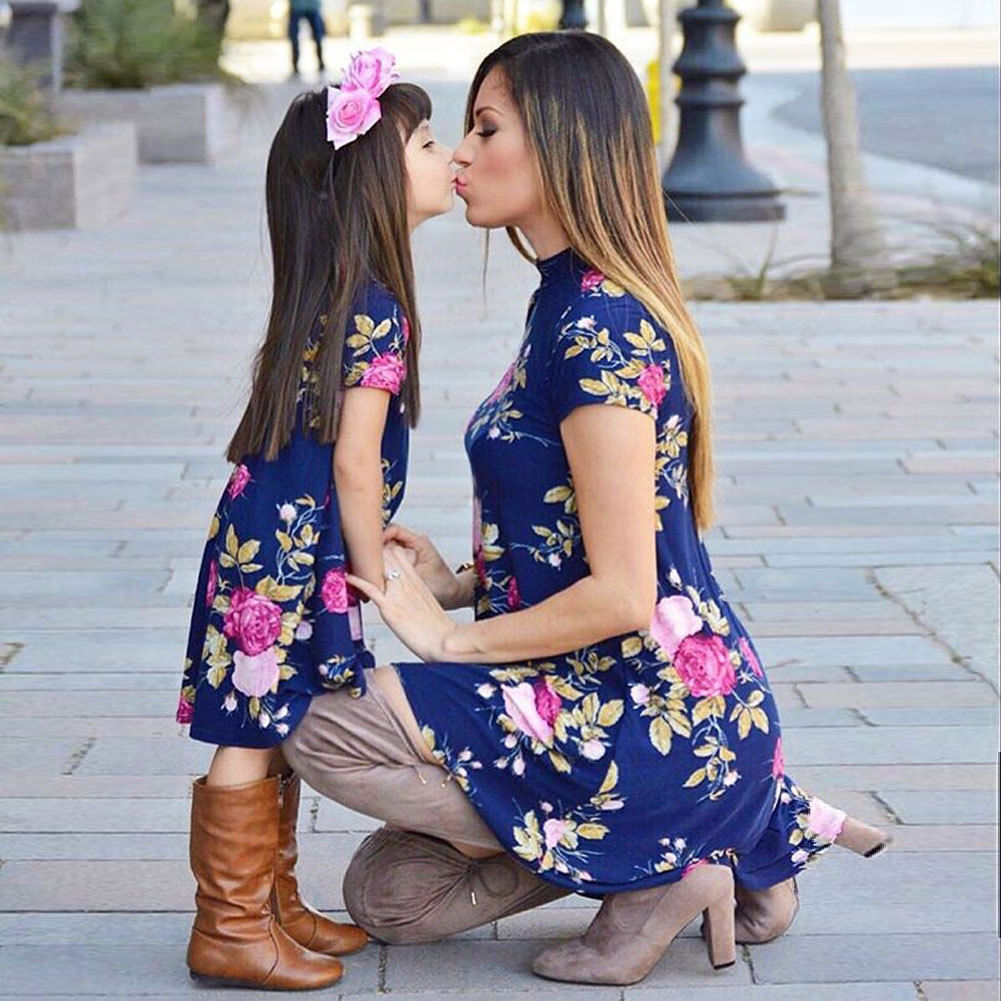 Mother daughter dresses Family matching Clothes Boho Beach Floral Dress Summer Party Pageant Sundress Short sleeve Vestidos family clothess 2018 new women summer short dress flower print boho beach dress birthday party girl dress vestidos largos mujer