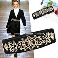 Cummerbund Luxury Baroque Style Gold tone Floral Design Wide Fashion Elastic Belt Multi Color metal
