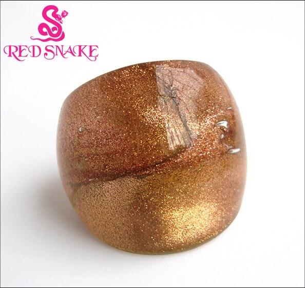 ROUGE SERPENT De Mode Anneau À La Main Brillant poudre d'or En Verre de Murano Anneau
