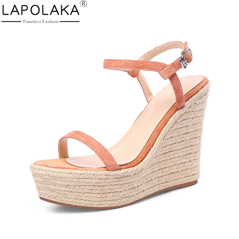 LAPOLAKA New Brand Kid Suede Genuine Leather Wedges High Heel Woman Shoes Party Sweet Women Shoes Summer Sandals new women sandals low heel wedges summer casual single shoes woman sandal fashion soft sandals free shipping