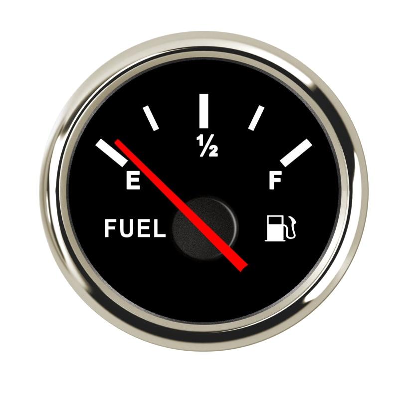 Водонепроницаемый индикатор уровня топлива 9~ 32 В для автомобиля, лодки, индикатор уровня топлива с подсветкой, подходит для датчика уровня топлива 0~ 190 Ом - Цвет: Black Silver