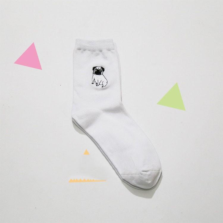 cute animal husky embroidery women cotton white socks lovely dog Jacquard female pure color socks funny kawaii pug meias soks 12