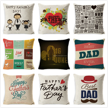 Happy Father Day Cushion Cover Letter Printed Cushion Case  Cotton Linen Sofa Throw Waist Pillowcase Square Festival Pillow Case цена в Москве и Питере