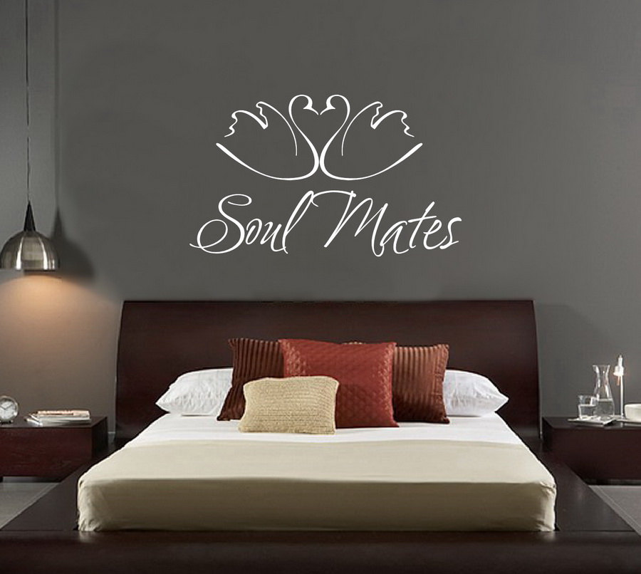 US $6.77 28% OFF|Swans Animal Wall Decal Quotes Soul Mates Vinyl Wall  Stickers Master Bedroom Headboard Home Decor Wedding Wall Decals Mural  SY27-in ...