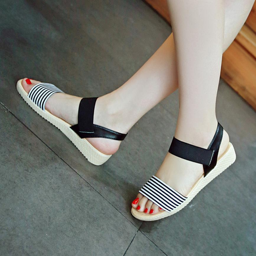 Fashion Women Flats Summer Hot Sale Sandals Female Stripe Flat Heel Anti Skidding Comfort Open Toe Beach Shoes Sandals Slippers 13