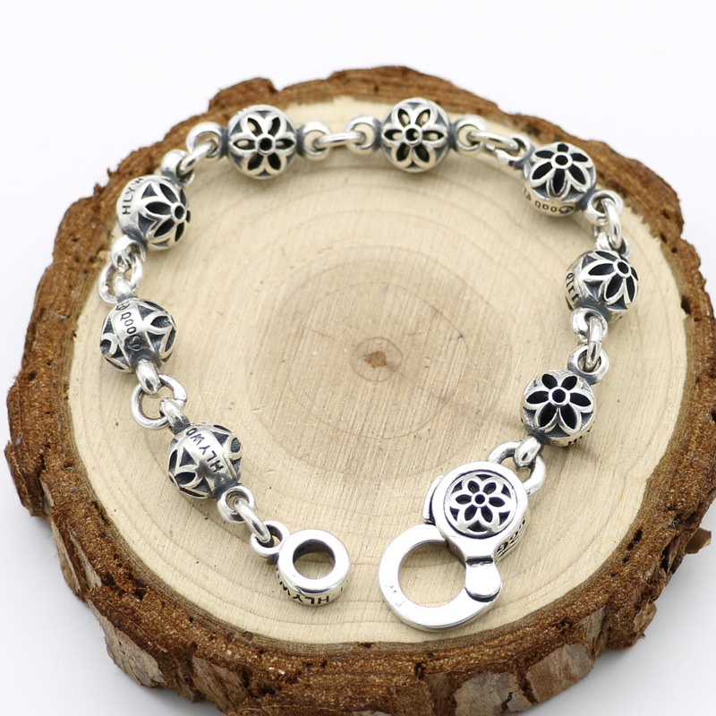 Punk Style Retro Thai Silver Beads Hollow Cherry Bracelet Homme Fashion Male And Female S925 Sterling Silver punk style beads dumbbell alloy stretch bracelet