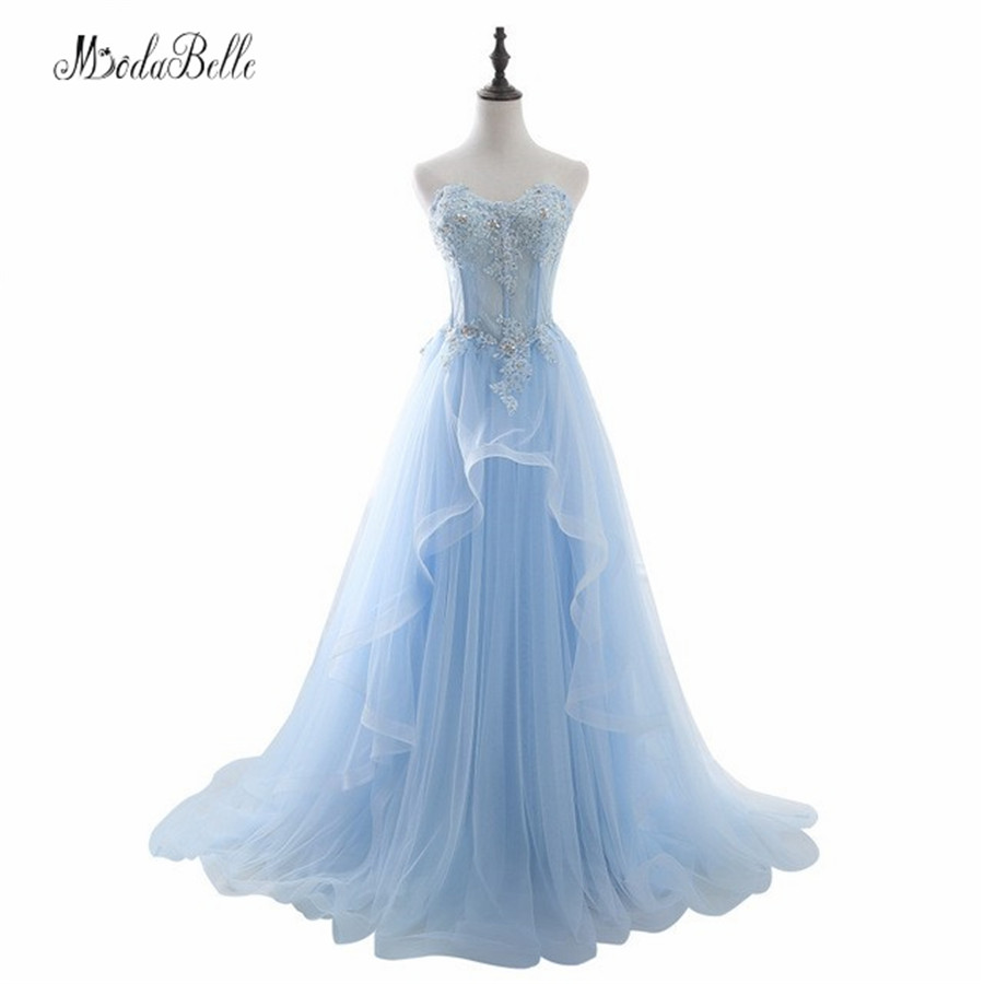 2017 In Stock Romantic Blue Beaded Long   Prom     Dresses   With Appliques A Line Sweetheart Tulle   Prom   Gowns Graduation Ball   Dresses