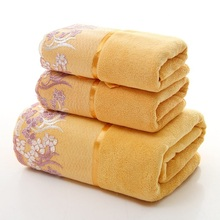 3pcs/set Lace Border Embroidery Microfiber bath towel set toalha de banho 1pc towel+2pcs face towels Bathroom Set