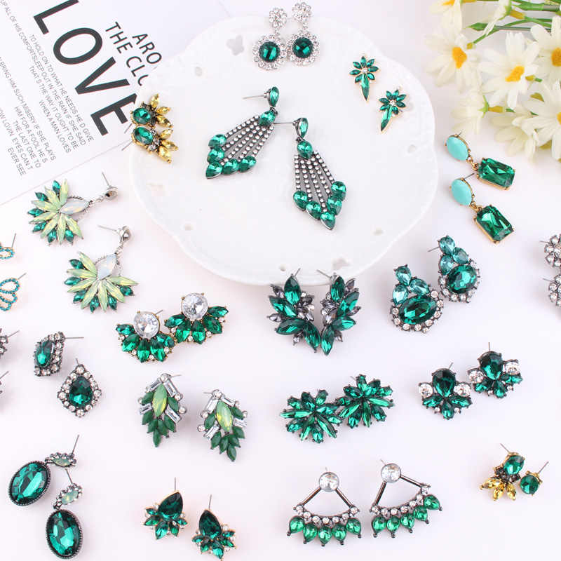 LUBOV 30 Kinds Crystal Green Stone Dangle Earrings Rhinestone Inlaid Geometric Silver Color Metal Dangle Earrings Women Jewelry
