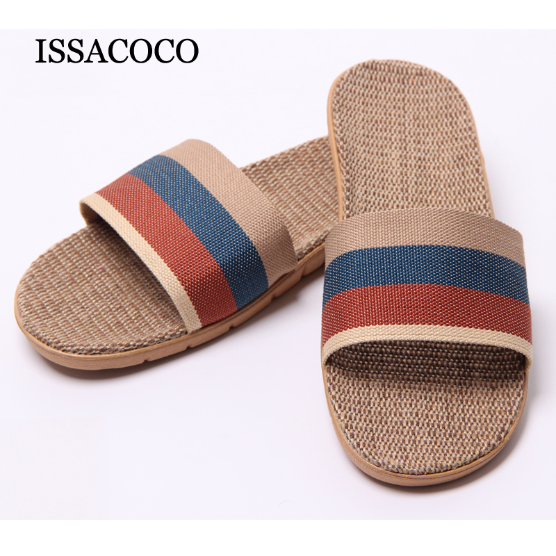 Men's Summer Linen Silppers Breathable Non-slip Fashion Home Slippers Men's Hemp Basic Slides Beach Slippers Hot 40-45 coolsa women s summer striped linen slippers women hemp slides women s flax slippers breathable non slip fashion indoor slippers