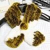 DL 12008 Lovely Womens Real Rex Rabbit Fur Scarves Rose Design Girls Natural Fur Wraps Winter
