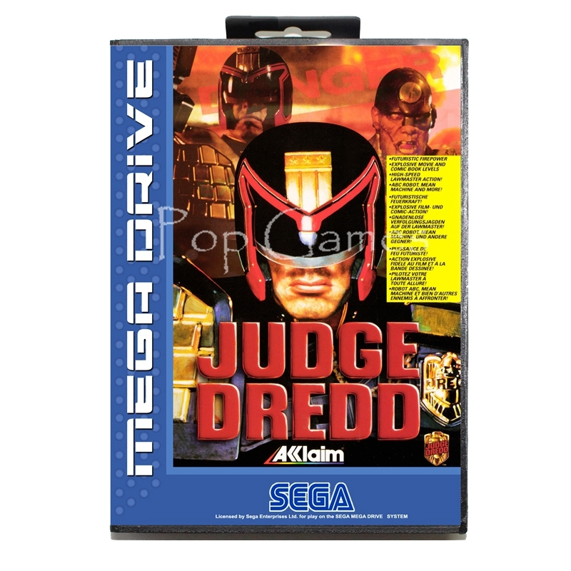 Judge Dredd with Box for 16 bit Sega MD Game Card for Mega Drive for Genesis Video Console